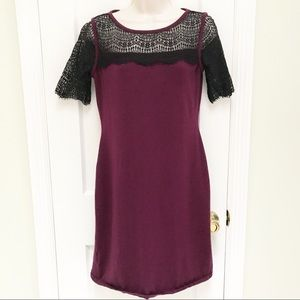 🌹Ann Taylor Maroon Dress with Black Lace
